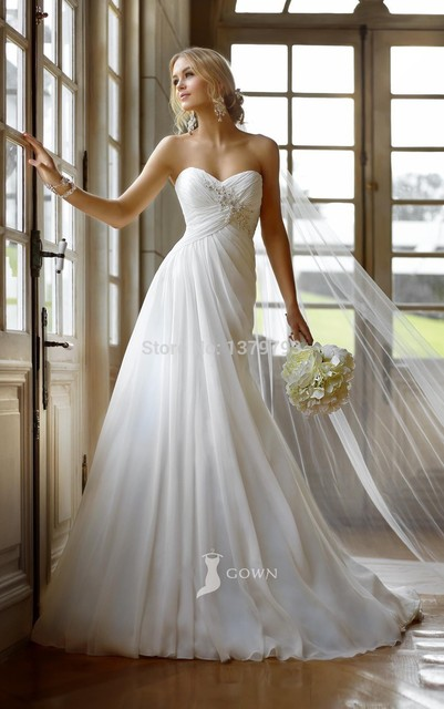51fd012b18 New Arrivals Strapless Sweetheart A-line Empire Asymmetrical Pleated Appliques  Lace Up Back Wedding Dress