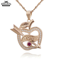 DELIEY Genuine 925 Sterling Silver Arrow Through Apple Pendant Necklace For Women Fine Jewelry