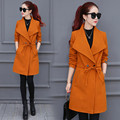 Top Fashion Women Long Trench Coat Elegant Clothing Solid Color Long-Sleeved Windbreak Waist Winter  Slimming Pockets Trench