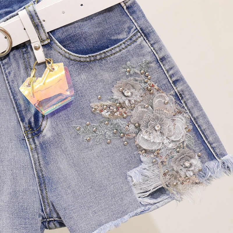 Летние Новые шорты джинсовый костюм футболка с нашивками женские джинсовые брюки комплект повседневные короткие дырявые Брюки Топы Футболка Femme