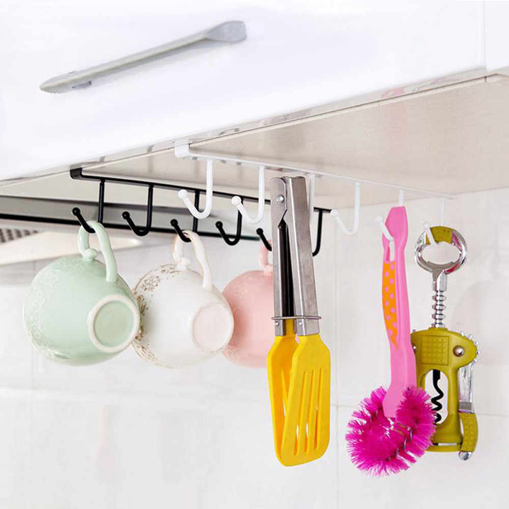 Útil armario de cocina estante de almacenamiento gancho colgante organizador ropa de armario estante de taza de vidrio soporte de armario de colgar d1