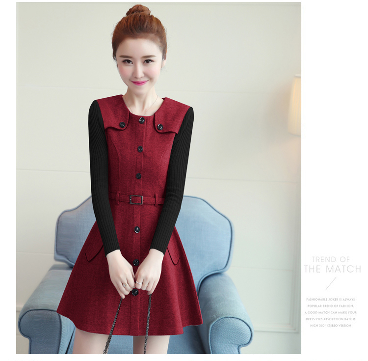 winter new round collar single-breasted cloth dress belt buttons A word women dresses Korean fashion outfit lady vogue vestido 16