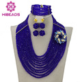 African Beads Jewelry Set Royal Blue Nigerian Wedding African Beads Jewelry Set 10 Row Crystal Beads Jewelry Set 2016 New AJS322