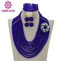 Perlas africanas Boda Nigeriano Beads Africanos Joyería Establece Royal Blue joyería Conjunto 10 Filas Granos Cristalinos de La Joyería 2016 Nuevo AJS322
