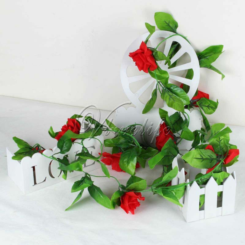 1Piece 2.2m Artificial Flowers Silk Flower Rose Ivy Vine Hanging Planter  For Wedding Party Garland