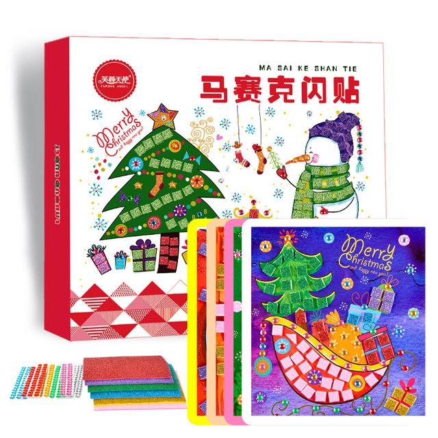 8 unidades 3D Mano BRICOLAJE Mosaicos Etiqueta Engomada Creativa de Navidad Juego Artes Artesanía Rompecabezas para Niños EVA Crystal Pegatinas Chirstmas Regalos