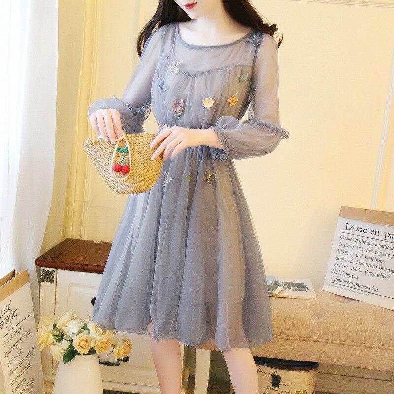 2019 Spring Summer New Women Dress Vintage A-line Dress Mesh Flower Design Elegant Ladies Dresses Casual Japan Female Vestido a-line