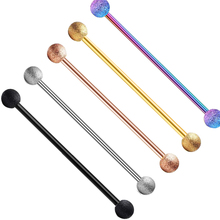 JUNLOWPY 1-5 adet 14G 16G 38mm Uzun Düz Sanayi Piercing Küpe Halter Ok Glitter Tragus kulak Kıkırdak göbek takısı