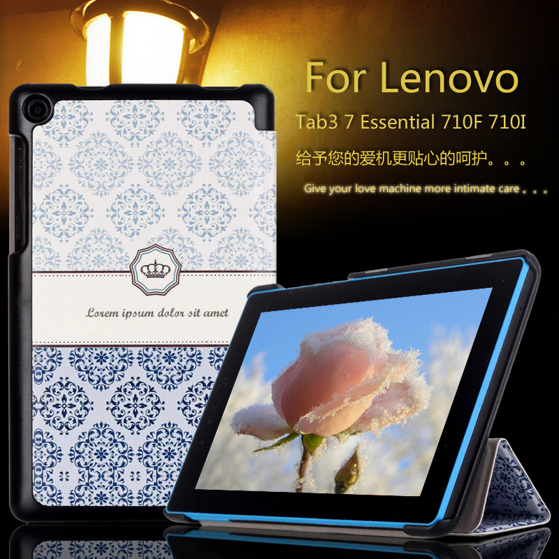 Fashion Colorful Painted Stand PU Leather Case For Lenovo tab 3 7.0 710F essential tab3 710I Tablet Case Flip Cover + Film + Pen