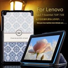 Moda Colorida Pintada Soporte PU Funda de piel Para Lenovo tab 3 7.0 710F esencial 710I tab3 Tablet Caso de la Cubierta Del Tirón + Película + Pluma