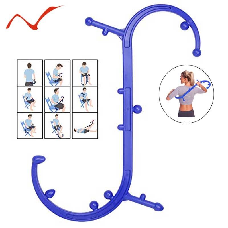 Nouveau Thera canne dos crochet masseur cou auto Muscle pression bâton outils Manuel Point de déclenchement Massage