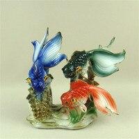 Phong Cách trung quốc Porceain Cá Vàng Figurine Gốm Thủy Sinh Cuộc Sống Ornament Craft Món Quà Ý Nghĩa cho Trang Trí Nội Thất và Bộ Sưu Tập Nghệ Thuật