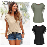 New Women Blouses Short Sleeve Summer Cotton Tassel Short Sleeve T Shirt Casual Black T Shirts