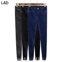 New Slim Stretch High Waist Skinny Jeans Female Scratch Worn Feet Vintage Black Blue Pencil Pants
