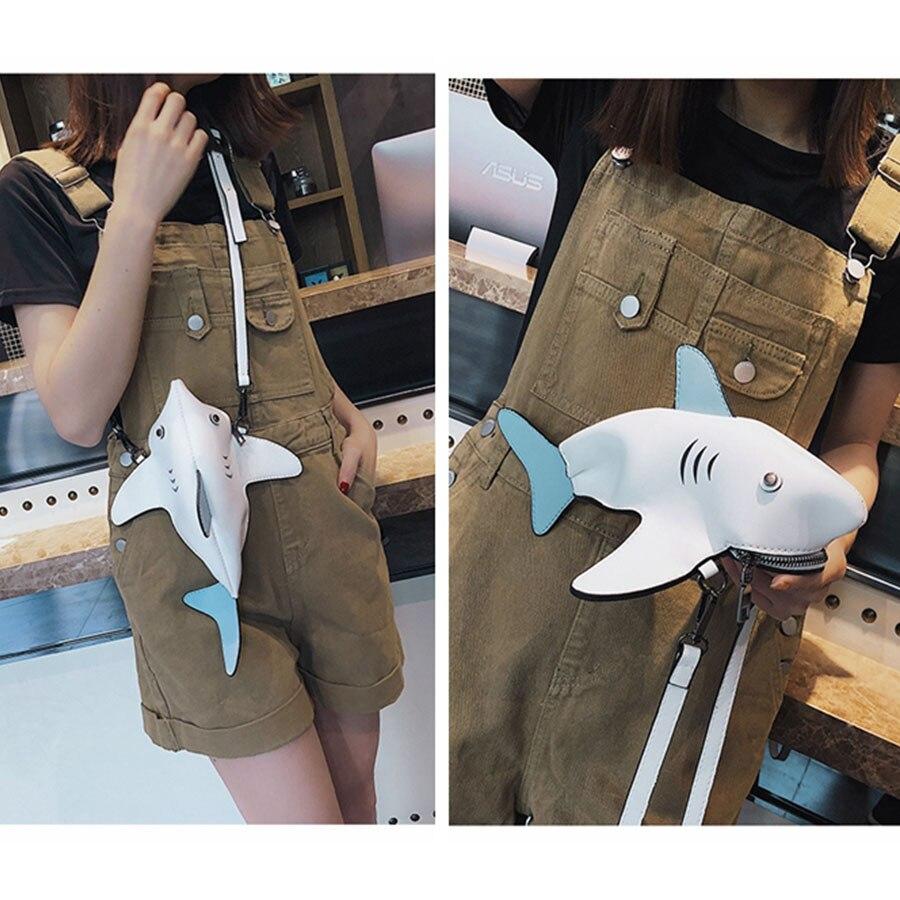Funny Shark Women Shoulder Bags Cartoon Chain Messenger Bag Ladies Lovely PU leather Phone Bag Crossobdy Bags Bolsas Feminina