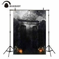 Allenjoy Halloween Dark Night Party Photography Backdrops Smokey Black Mist Foggy Iron Gate Pumpkin Spooky Photo
