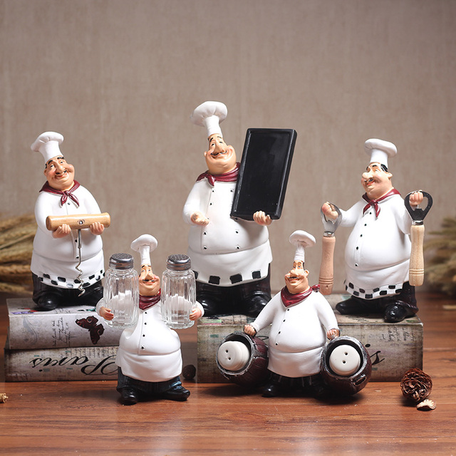 Resin Vintage Chef Figurines Ornaments Creative Satues Decorative Restaurant Bar Cafe Decorations Kitchen Decors