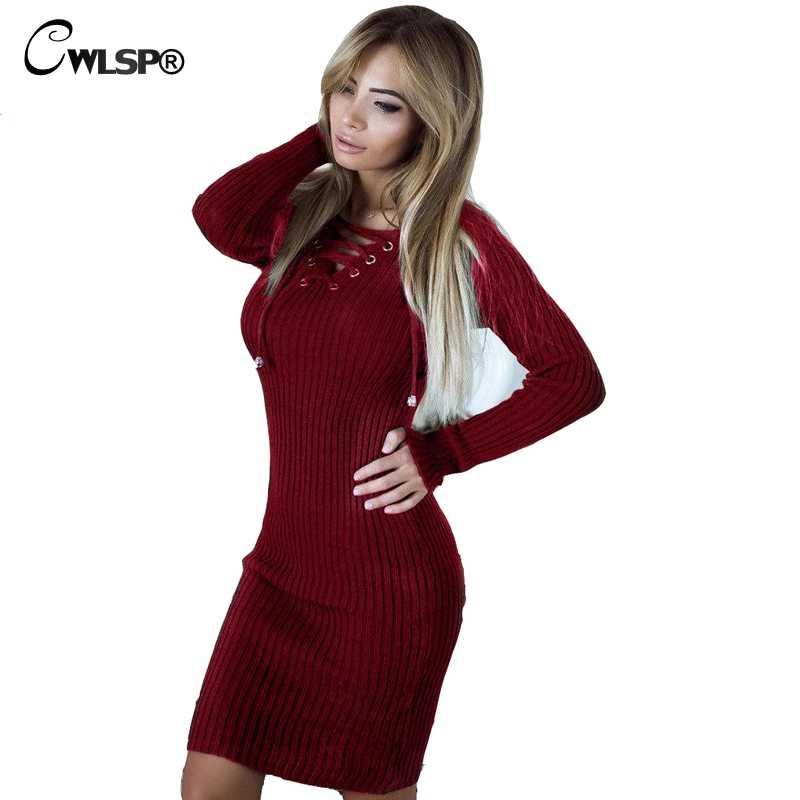 8a7114cf06850 CWLSP Women Long sleeve Ribbed Knitted Dresses Lace up Bodycon Sweater  dress Slim Hollow out dress 2018 winter vestidos QL3505