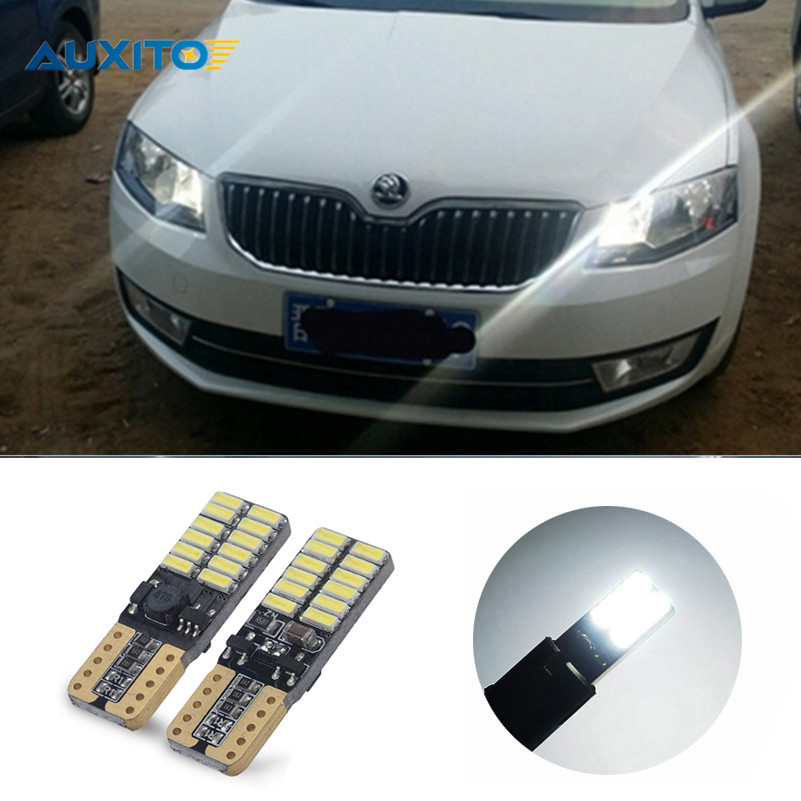 2 Pcs T10 W5W 168 194 SMD Error Free Parking Light Bulbs Clearance Lights For Skoda Superb Octavia A7 A5 2 Fabia Rapid Yeti 2pcs high quality superb error free 5050 smd 360 degrees led backup reverse light bulbs t20 for hyundai i30