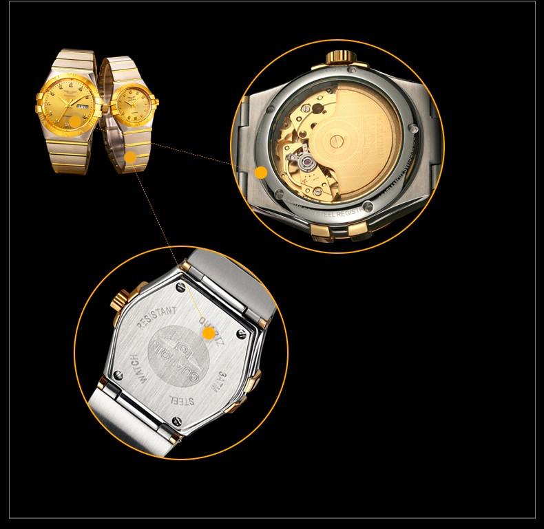 GUANQIN Gold Couple Watches Men Automatic Mechanical Watch Women Quartz Watch Luxury Lover Watch Waterproof Fashion Wristwatches (16)
