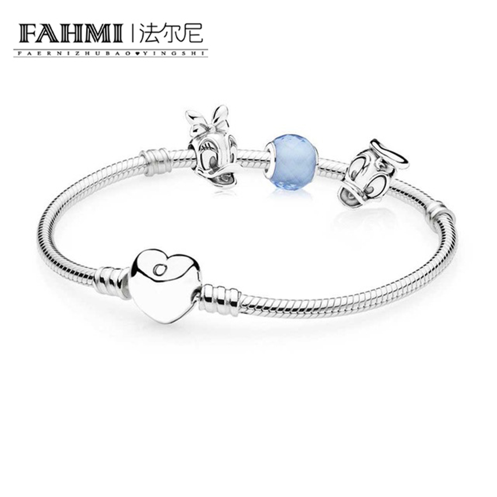 FAHMI Book Di 100%925 Sterling Silver Donald and Daisy Bracelet Set fit DIY Original charm Bracelets jewelry A set of prices