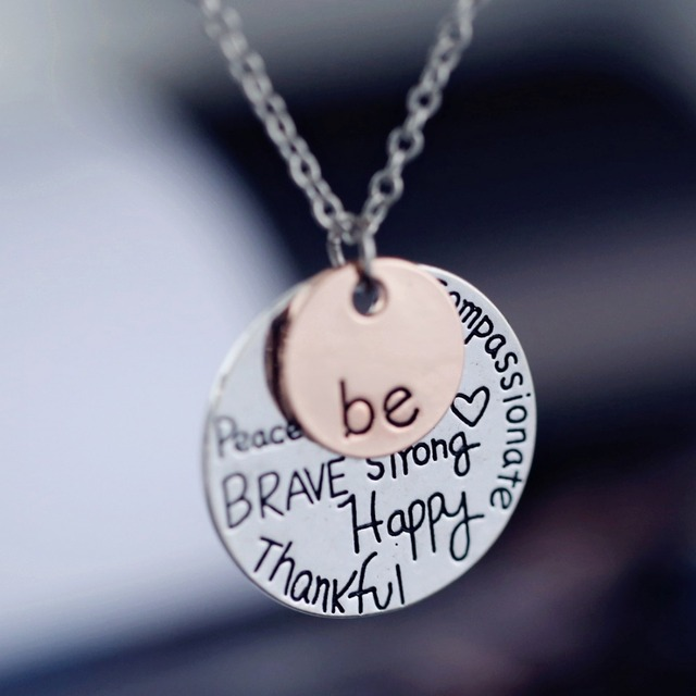 Fashion rose gold color pendant necklace hand stamped be happy fashion rose gold color pendant necklace hand stamped be happy necklace cute coin engraved necklace for aloadofball Choice Image