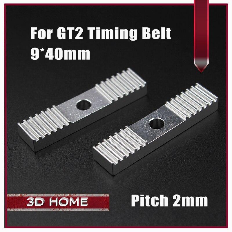 Reprap DIY GT2 Timing Belt Fixing Piece Aluminum Alloy Tooth Pitch 2mm Clamp Fixed Clip 9*40mm CNC For 3 D Printer Parts