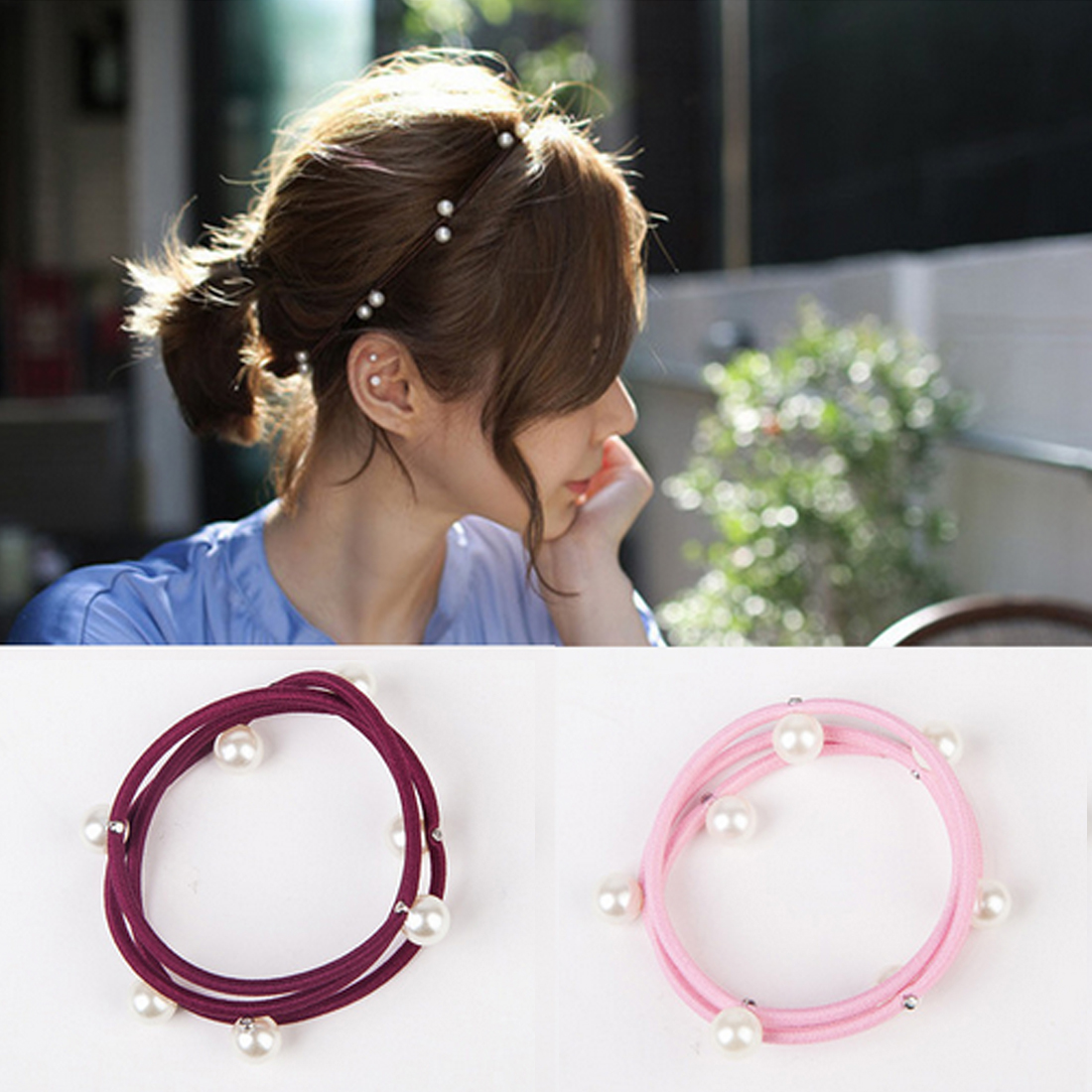 5PCS/Lot Simple Elegant Pearls Women Hair Bands Ornament Elastic Rubber Ropes Ponytail Holder Accessories