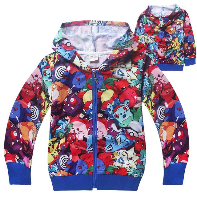 Zipado Hoodies Chidlren meninos da menina 2016 Primavera Outono Camisolas casaco crianças de manga comprida T-shirt camisola POKEMEN Moana ir