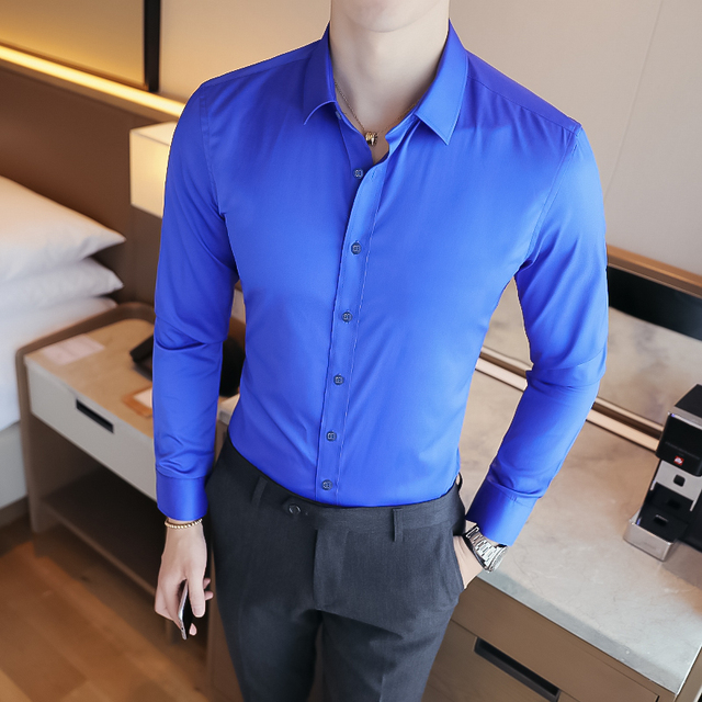 Business Shirts 2018 New Fashion Brand Clothing Mens Long Sleeve Work Shirt Elastic Slim Fit Shirt Big Size S-5XL Casual Shirt 3
