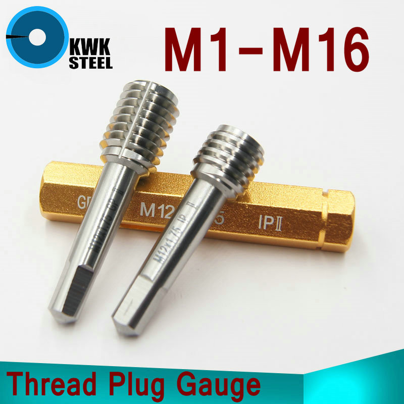 Thread Plug Gauge GO/NO GO Gage M1-M16 5H 6H HSS Material Hardness HRC53-60 Fine Pitch Thread Test Tool Top Quality m21 x 1 right hand thread gauge plug gage