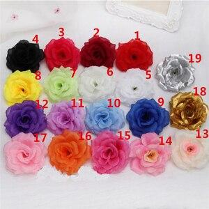 Image 2 - 10pcs 8cm ประดิษฐ์ Rose Silk ดอกไม้หัวตกแต่งดอกไม้สำหรับงานแต่งงานงานเลี้ยงตกแต่ง