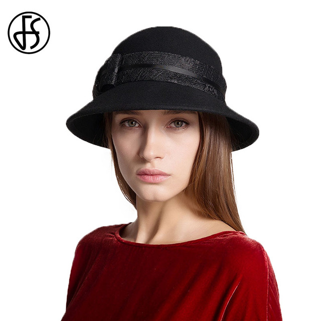 FS Women Felt Cloche Hat Fedora Black 100% Australia Wool Fedpras Lady Church  Hats Female Winter Classic Bowler Cap Dome Caps a20d7158aa0