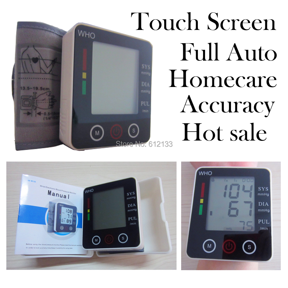 Touch Screen health care Automatic Digital Wrist Blood Pressure Pulse Monitor Sphygmomanometer Portable Blood Pressure Monitor