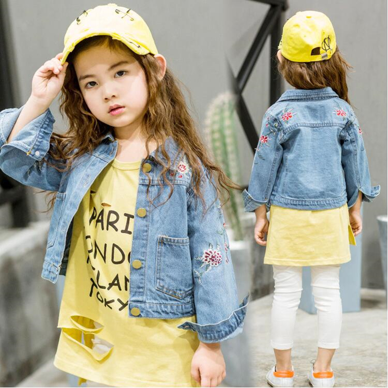 LILIGIRL Long-Sleeve Kids Denim Jackets for Girls Baby Embroidered Coat Clothes 2-8Y 2019 Children Spring Fashion Outwear New