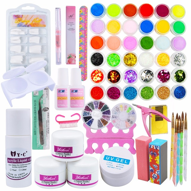 Pro Acrylic Powder Nail Kit False Tips DIY Acrylic Nail Liquid Full ...