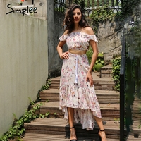 Simplee Off Shoulder Ruffle Print Summer Dress Suit Sexy Crop Top Asymmetrical Long Dress Two Piece
