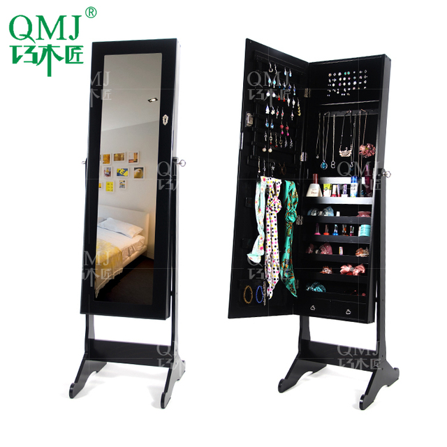 NEW Luxury Large Wooden Black Ikea Jewelry Cabinet Mirror Cabinet