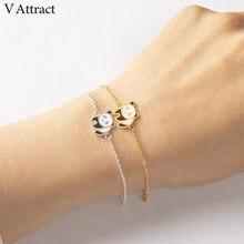 Pulseira feminina de aço inoxidável, bracelete em v com pingente de panda