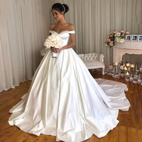 Vetidos de novia Simple Satin Ball Gown Wedding Dresses 2019 Sexy Off The Shoulder Bride Dress Cap Sleeve Plus Size wedding gown