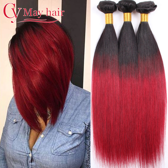 Unprocessed 8A Mink Brazilian Virgin Hair Ombre Straight Brazilian Hair Burgundy Brazilian Hair Tissage Brizilian Virgin Hair