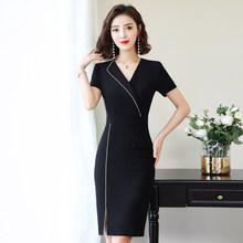Work clothes women 2019 summer new style OL slim fashion commuter beautician skirt wrap buttock dress