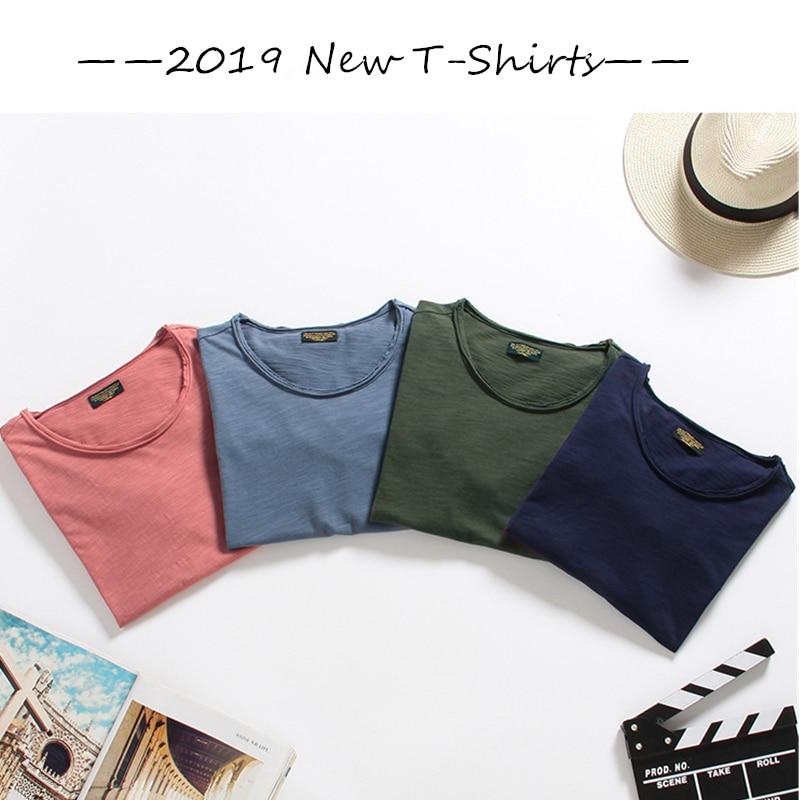 Dropshipping GustOmerD 4 Pieces   T  -  Shirts   Men Brand Quality 100% Cotton Tee   Shirt   Men Casual Slim Fit O-Neck   T     Shirt   Men 8 Colors