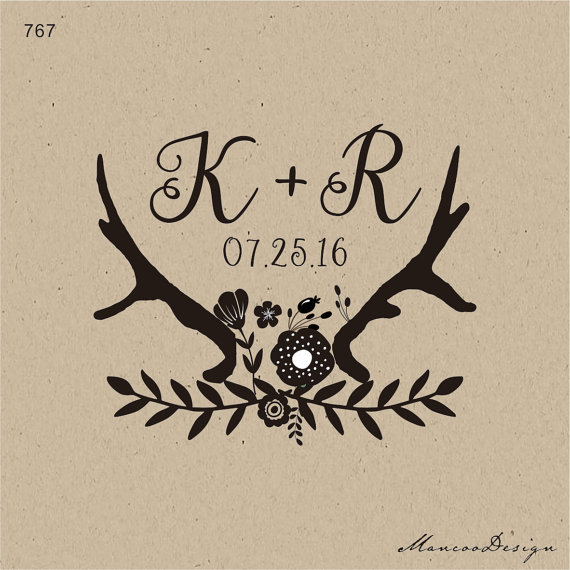 Deer Antlers And Floral Wedding Stamp Custom Monogram Initial Favors Rubber Stamps