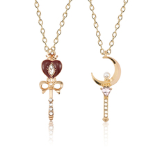 Cartoon Anime Sailor Moon Pendant Necklace Womens Crystal Pearl Love Wand Woman Child Jewelry Collar Gift