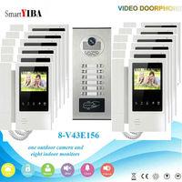 SmartYIBA Rfid Keypad 12/10/8/6/4 Units Video Doorbell Color 4.3 Screens CCD Video Camera At The Front Door Video Intercoms