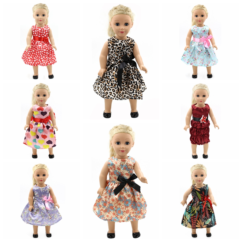 American Doll Accessories American Girl Doll Clothes 15 Styles Princess Skirt Dress Suit for 16-18 inch Dolls Girl Best Gift  D2 9 colors american girl doll dress 18 inch doll clothes and accessories dresses