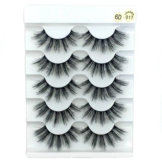 5 Pairs 6D Faux Mink Hair False Eyelashes Natural Long Wispies Lashes Handmade Cruelty-free Criss-cross Eyelashes Makeup Tools 2