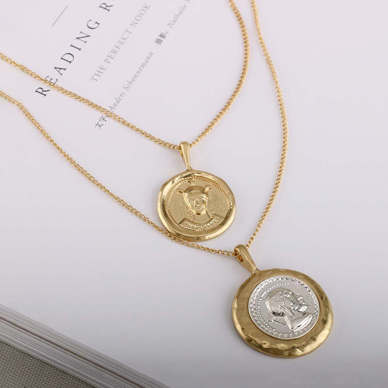 SRCOI Retro Gold Color Portrait Coin Necklace Pendant Minimalist Coin Disc Layering Choker Necklaces For Women Vintage Accessory Islamabad