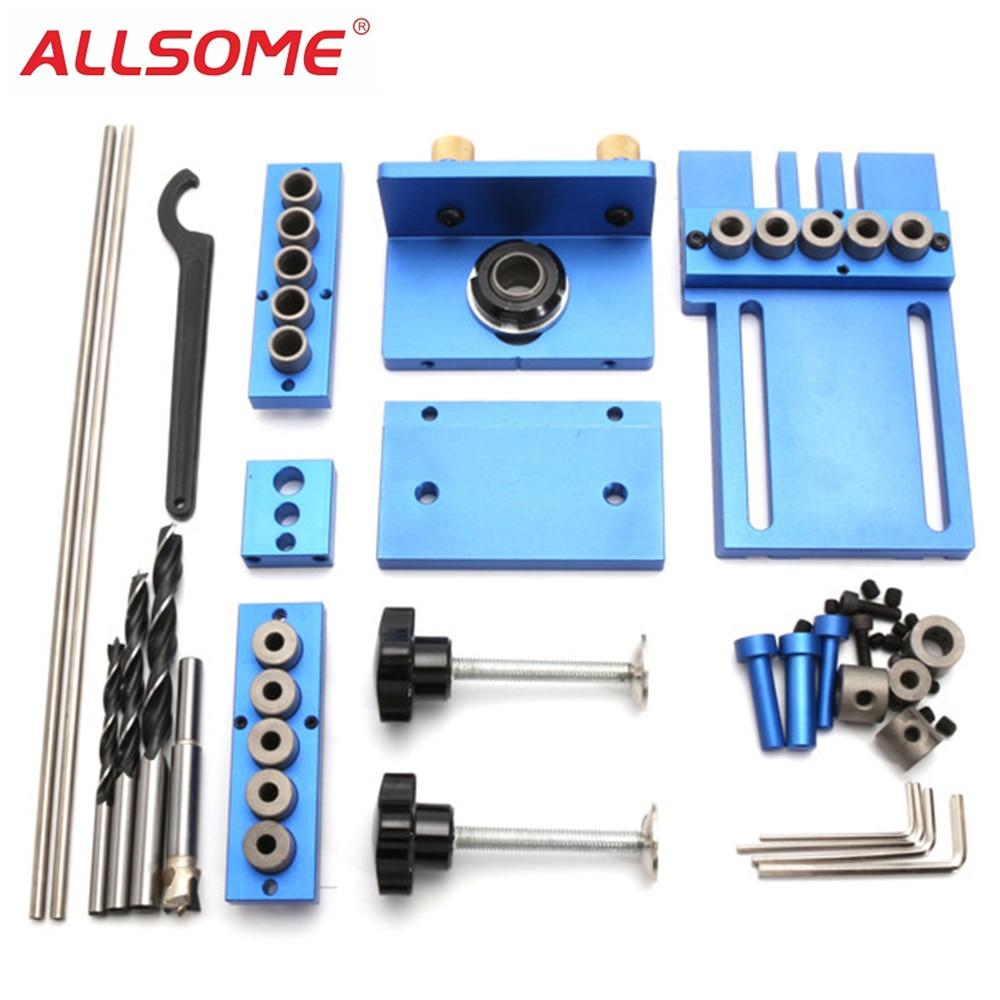 Lega di Alluminio ALLSOME Dowelling Giga Giga Set di Legno di Tasselli di Posizione di Foratura Strumento di Lavorazione del Legno HT1705 Giga